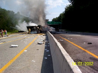 Fatal 2nd Alarm Lincoln, RI Rte-146SB nr Twin River Rd Tractor Trailer tip over w/ fire